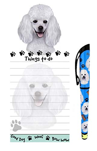 Poodle Pet Lovers Magnetic to-Do List Pad and Easy Glide Gel Pen