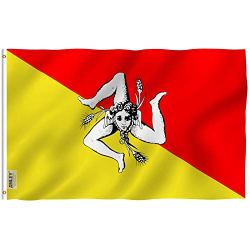 Anley [Fly Breeze 3x5 Foot Sicily Flag - Vivid Color and UV Fade Resistant - Canvas Header and Double Stitched - Italy Sicilian Flags Polyester with Brass Grommets 3 X 5 Ft