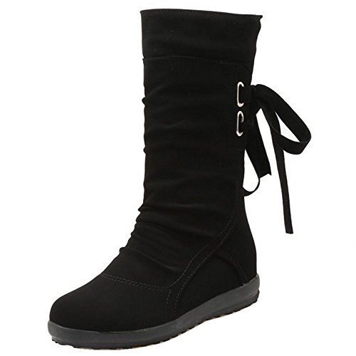 COOLCEPT Women Casual Ribbon Back Lace up Girls School Winter Half Boots Black O2c0N3J
