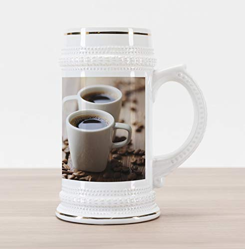 Ambesonne Coffee Beer Stein Mug, Espresso in Cups on Wooden Table with Beans Hot Drink for Romantic Couples, Traditional Style Decorative Printed Ceramic Large Beer Mug Stein, Cocoa Brown White ()