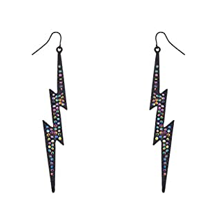 Lux Accessories Rainbow Pave Crystal Lightning Bolt Black Dangle Earrings