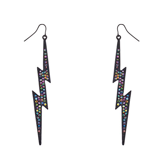 [Lux Accessories Rainbow Pave Crystal Lightning Bolt Black Dangle Earrings] (Lightning Bolt Costumes)