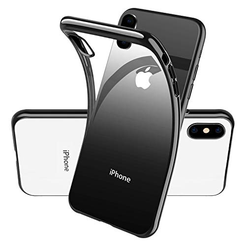 (Clear Silicone Phone Case for iPhone Xs X IphoneXS IphoneX,Ultra Slim Thin Fit Soft TPU Cover with Electroplated Black Bumper/Transparent Back,Hybrid Crystal,Anti)