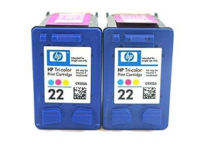 2 Pack HP 22 Color Ink Cartridges Without Factory Packaging for Deskjet 3940 F2210 F335 F340 F380 D1430 D1530 D2430 Officejet 4315 J3680 PSC 1410 FAX 1250