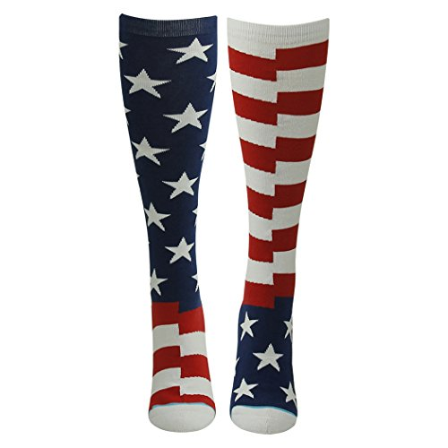 Gmark Unisex Cotton Stars & Stripes Independence Mismatched Knee High Socks for Boots Celebrate America 1 Pair (Fancy Dress Boots)