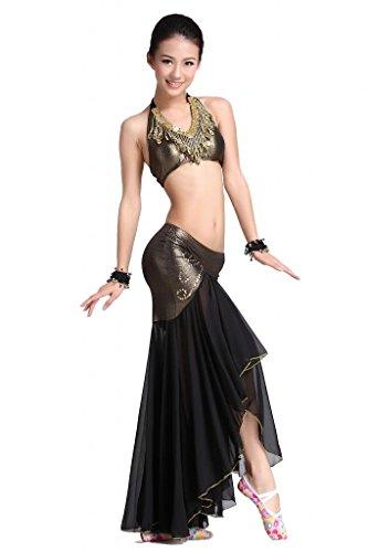 (ZLTdream Women's Belly Dance Costume Bandage Peacock Bra Top and Fishtail Skirt,Black,One)