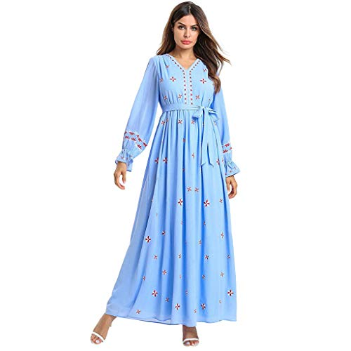 HYIRI Muslim Women's Long Maxi Dress Robe Embroidery Abaya Islamic Dubai Kaftan Ramadan Light Blue -