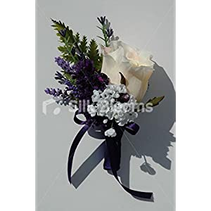 Delightful Ivory Rose Wedding Buttonhole with Heather & Allium 81