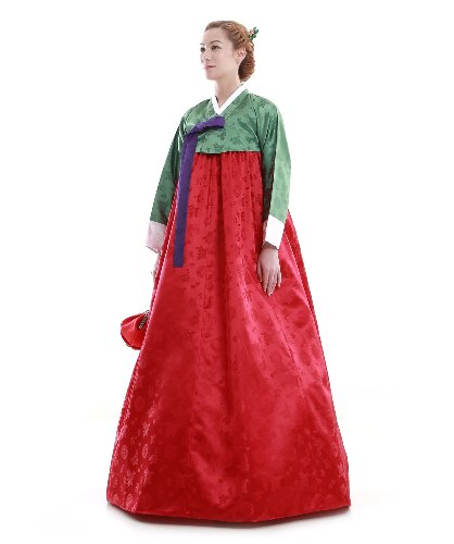Vert Traditionnelle Coreenne Sur Robe Mesure Coupe Rouge Hanbok wx1qTBHCC