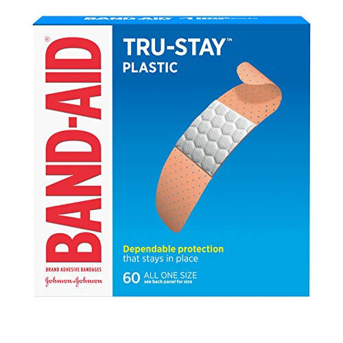 (Band-Aid Brand Tru-Stay Plastic Strips Adhesive Bandages for Wound Care and First Aid, All One Size, 60 ct)