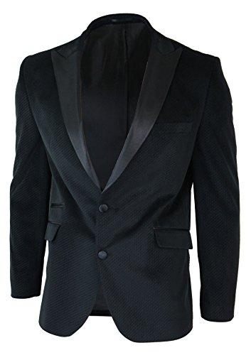 CB Mens Slim Fit 2 Button Velvet Blazer Tuxedo Dinner Jacket Black Satin Smart Casual black,Black,48