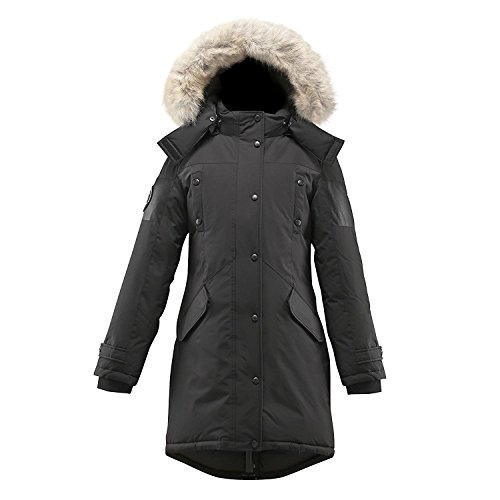Triple F.A.T. Goose Embree Womens Hooded Arctic Parka with Real Coyote Fur (Large, Black) by Triple F.A.T. Goose