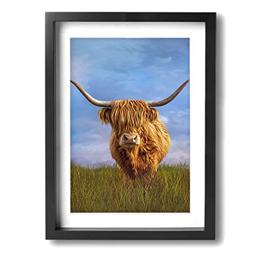 Highland Cow Among Grass Blue Sky 12x16 Inch Picture Frame -Plexiglass,Easy To Hang Paintings,Modern Home Decor