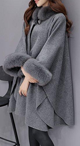 Elonglin Womens Faux Fur Cloak Coat Bat Sleeve Wool Blend Shawl Cape Poncho