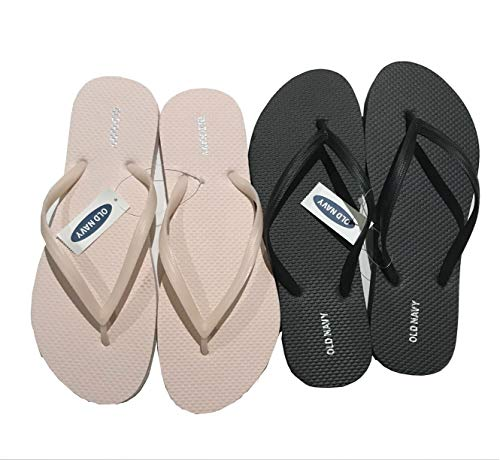 Old Navy Flip Flop Sandals for Woman, Great for Beach or Casual Wear (10, Blush and Black)