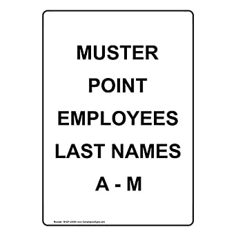 ComplianceSigns Vertical Vinyl Muster Point Employees Last