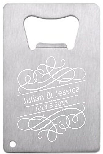 Customized Wedding Favor Credit Card Opener Personalized For Guests Stainless Filigree 150 pieces Review