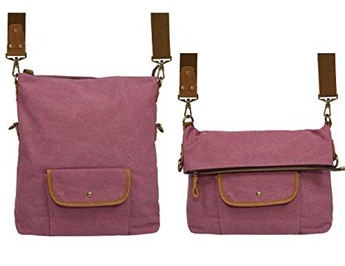 ECOSUSI - Bolso al hombro de Lona para mujer Verde verde Púrpura