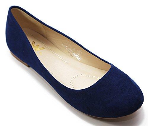 Walstar Mode Féminine Bout Rond Ballet Chaussures Plates Daim Foncé Marine