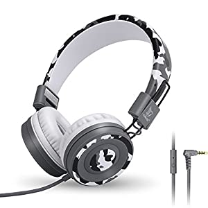 Yomuse C89 On Ear Foldable Headphones with Microphone, Adjustable Headband for Kids Adults, iPhone iPad iPod Computers…