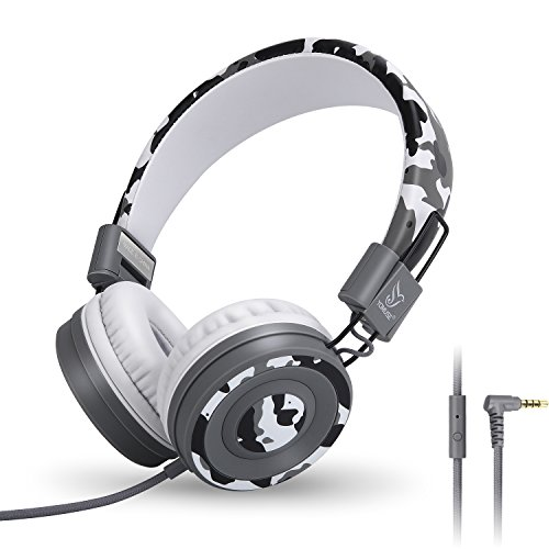 Yomuse C89 On Ear Foldable Headphones w/ Microphone, Adjustable Headband for Kids Adults, iPhone iPad iPod Computers Tablets SmartPhones DVD, Camo Grey