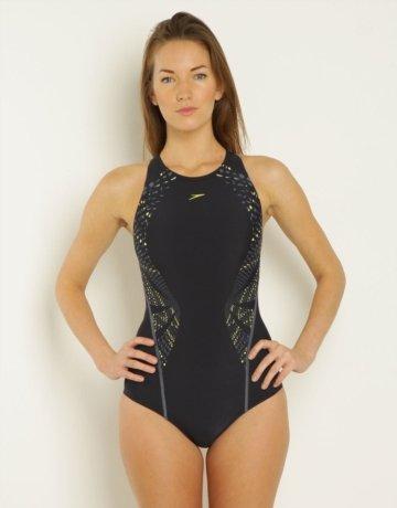 1e0716a9acb9d Speedo Women's Endurance Plus FluidAction High Neck Swimsuit (36 Inch,  Navy): Amazon.co.uk: Clothing