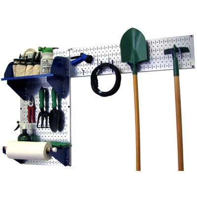 Wall Control 30-GRD-200 GVBU Garden Supplies Storage and Organization Garden Tool Organizer Kit with Metallic Pegboard and Blue Accessories