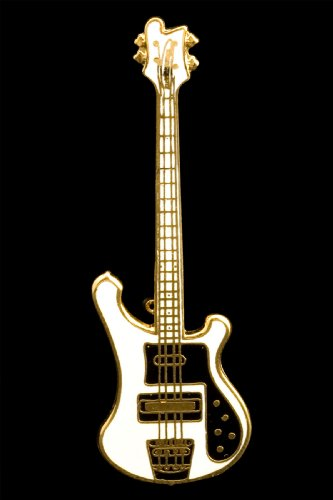 Electric Bass Guitar Pin - White by Harmony Jewelry