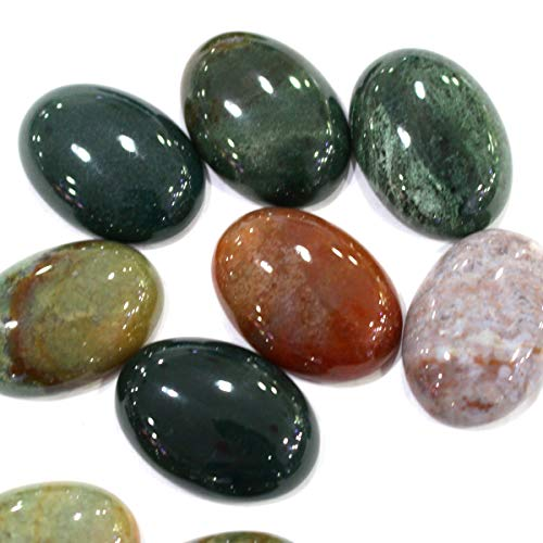 (Icokarl 6pcs Oval 18x25mm Natural Gemstone Cabochons CAB Loose Beads DIY for Pendant Ring Jewelry Making (Indian Agate))