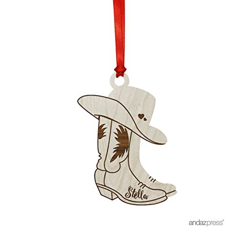 - Andaz Press Personalized Laser Engraved Wood Christmas Ornament with Gift Bag, Cowboy Boots Shape, 2019, Custom Name, 1-Pack