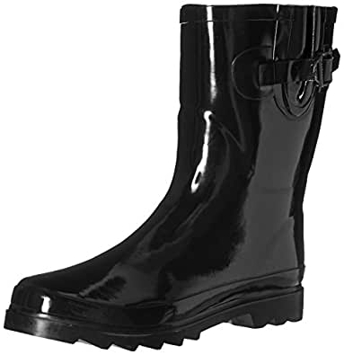 Amazon.com | New Women's Mid-Calf Rubber Rain Boots | Mid-Calf