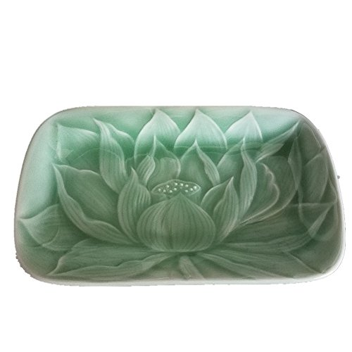 Sushi Tray Celadon Dish Lead Free 6Inch Ceramic Engraved Lotus Leaf(Green01)