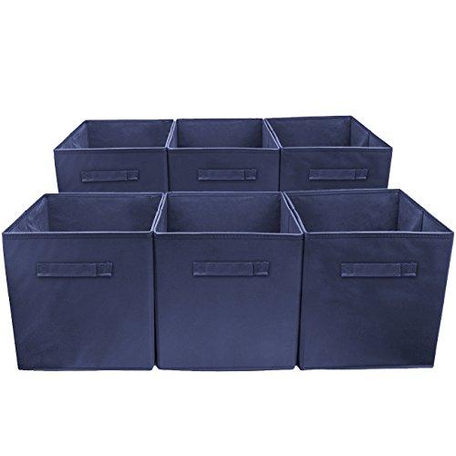 (Sorbus Storage Cube Basket Bin, 6 Pack Navy Blue )