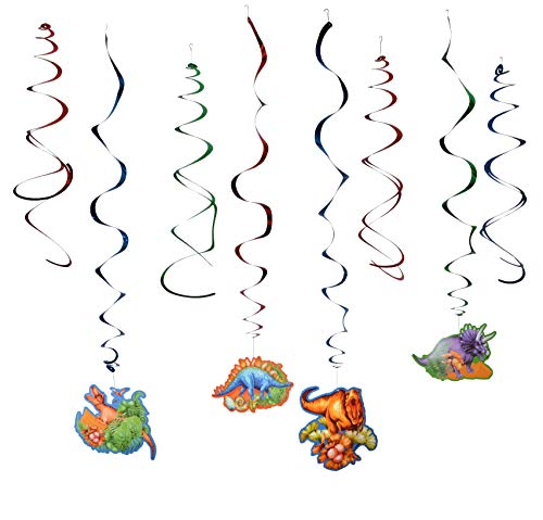 Paper Jazz Dinosaur party Hanging Swirl Decorations - Dino Fossil Jurassic T-REX Birthday Party Supplies -