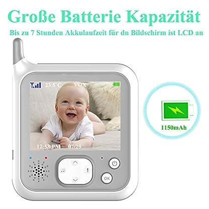 EYSAFT Babyphone mit Kamera Video Baby Monitor 3.2 Zoll Babyfon mit Talk Back und Temperaturüberwachung,Nachtsichtkamera,Schlaflieder,Nachtsicht, Intercom-Funktion VOX 2