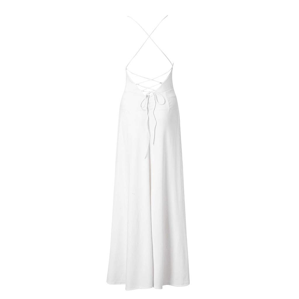 ZOMUSAR 2019 Fashion Women's Fashion Solid Sexy Ruffle Blackless Sleeveless Irregular Dress White by ZOMUSAR (Image #5)
