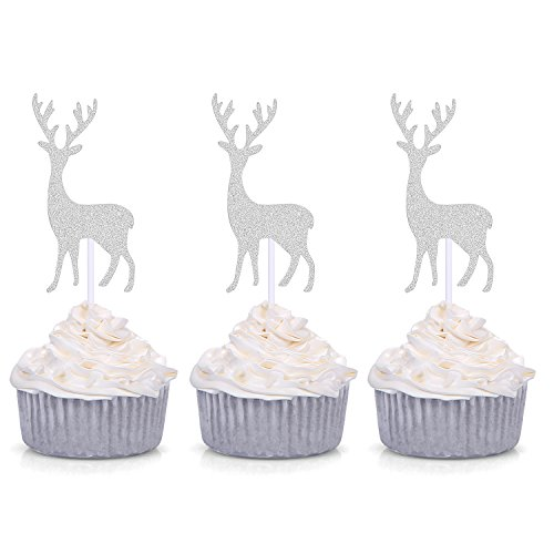 24-PCS-Silver-Reindeer-Cupcake-Toppers-Handmade-Cake-Decors-with-Antler
