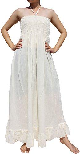 Maxi Smock (Raan Pah Muang Brand Smock Bust Halter Top Soft Thai Cotton Gypsy Dress, Medium, Cream)