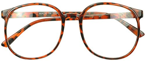 Sunglass Stop - Super Big Round Oversized Dark Tortoise Glasses with Clear Lenses (Tortoise, Clear)