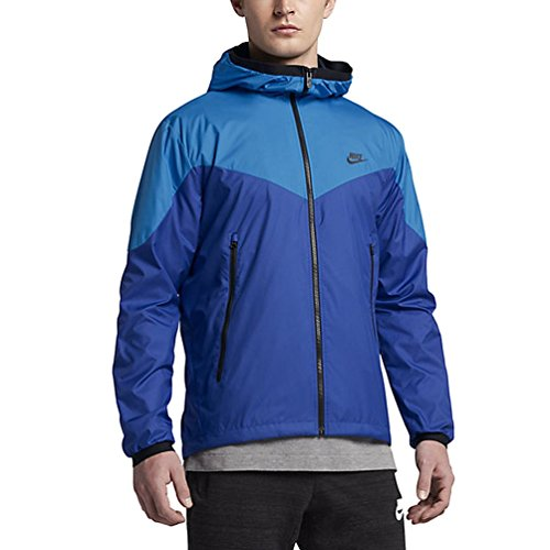 Nike Sportswear Mens Windrunner Hooded Track Jacket (Light Photo Blue/Game Royal/Black, X-Large) ()