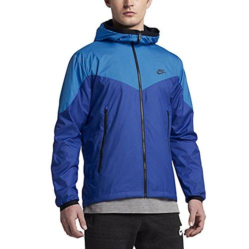 Vintage Coat Nike - Nike Sportswear Mens Windrunner Hooded Track Jacket (Light Photo Blue/Game Royal/Black, X-Large)