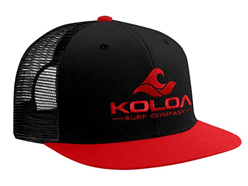 Koloa Surf(tm) Mesh Back Wave Logo Trucker Hat in Red/Black RedLogo