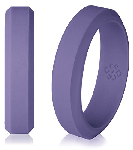 Pewter Purple Silicone Wedding Ring for Women Size 5 - Ultra Comfortable, Slim, Elegant 5mm Band - Hypoallergenic Antifungal Silicone Rubber Rings - Premium Quality, Style, Safety, Comfort