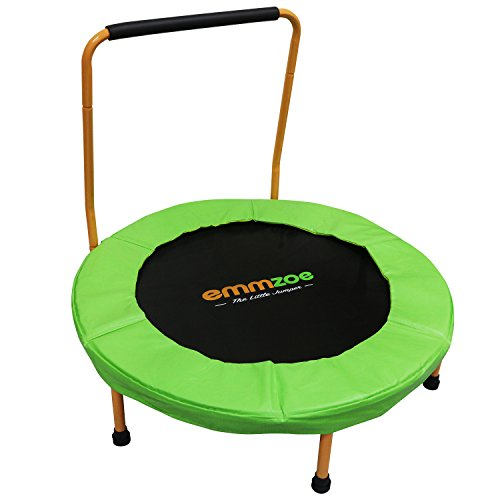 """Emmzoe """"The Little Jumper"""" 36 inch / 3 Feet Padded Kids Trampoline with Balance Handrail – Easy to Setup"""