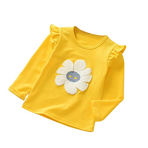 Birdfly Little Girls Daisy Flower T-Shirt Ruffled Long Sleeve Pullover Top Kids Toddler Baby Clothes (3T, Yellow)