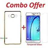 RidivishN (COMBO OFFER ) for SAMSUNG GALAXY ON 5 PRO /ON 5- Transparent Soft Silicon Flexible Electroplated Edges TPU Back Case Cover + Premium Tempered Glass screen pretector (Transparent/Gold Border)