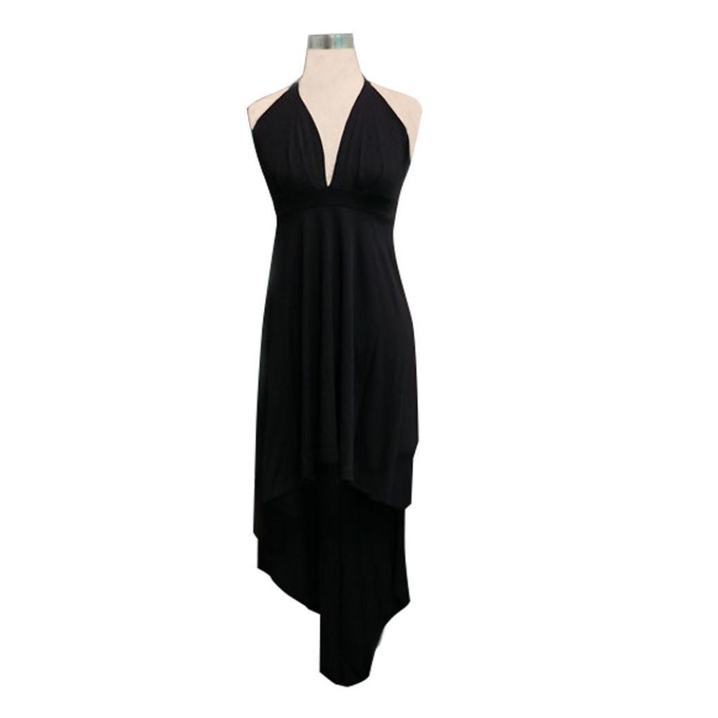 cb7448a5c5 Amazon.com  HOSOCHRIS Women s Cocktail Prom Sexy Long Dress Deep V-Neck  Solid Black Backless Sleeveless Asymmetry Dress  Clothing