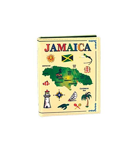 "Rockin Gear Photo Album Jamaica Souvenir and Gift Embossed Map Leather Photo Album 4"" x 6"" - 100 Photos"