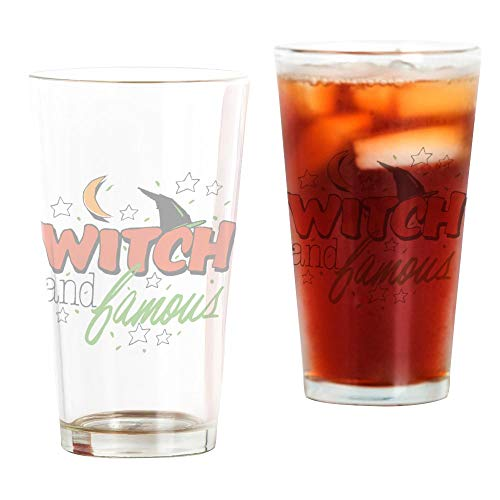 Pint Drinking Glass Halloween Witch and Famous Hat
