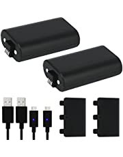 Xbox One Controller Battery Pack, 2 Pack 1200mAh ricaricabile Xbox One Play e Charge Kit con Micro USB cavo di ricarica per Xbox One / Xbox One S / Xbox One X
